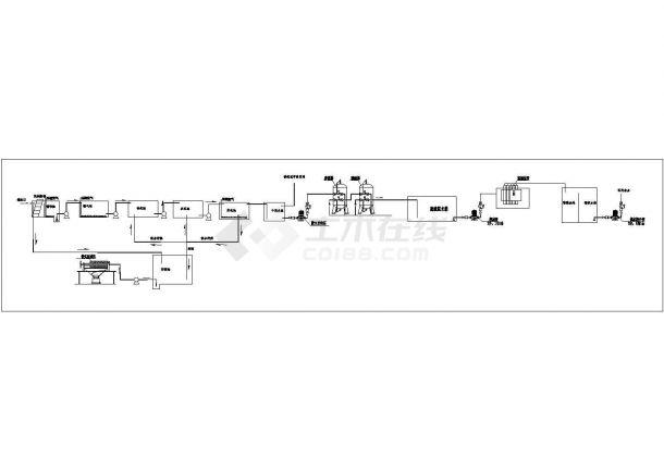 废水处理_A2O法处理养殖废水工艺流程CAD图-图一