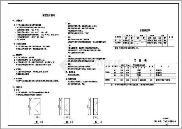 天津某中学190平米单层砌体结构建筑设计CAD图纸-图一