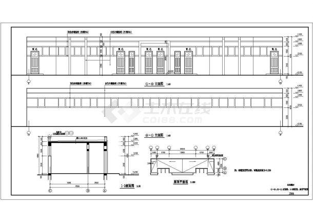 天津某中学190平米单层砌体结构建筑设计CAD图纸-图二