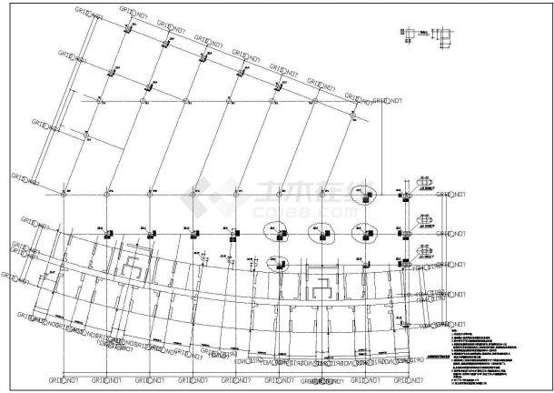 某框架结构办公楼建筑结构施工CAD图纸-图一