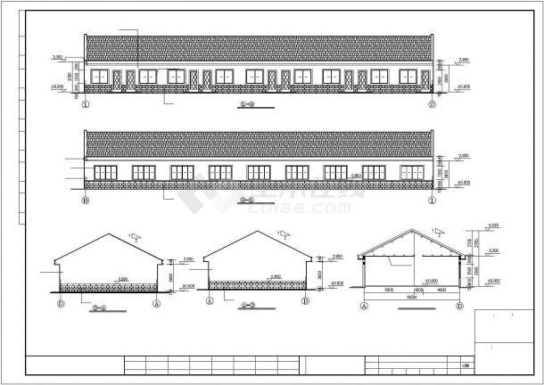 宁波市某工厂410平米单层砖混结构职工宿舍楼建筑设计CAD图纸-图一