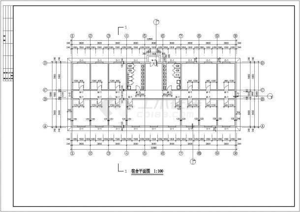 芜湖市某化工厂430平米单层砖混结构职工宿舍楼全套建筑设计CAD图纸-图二