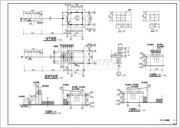 某大门门卫室建筑详细设计施工方案CAD图纸-图一