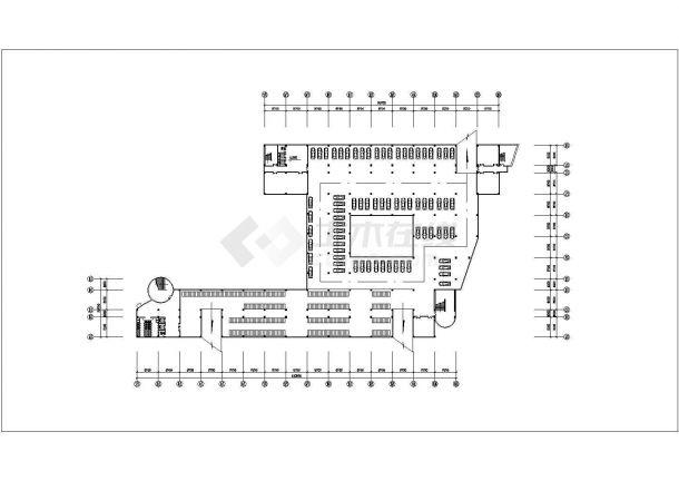 某大学教学楼方案规划cad施工图-图一
