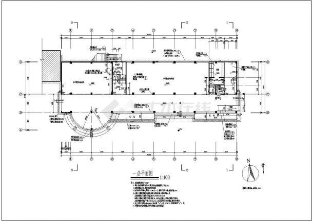 某小学多功能教学楼建筑规划cad施工图-图二