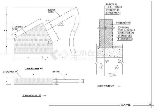 某雕塑、休闲、城市广场景观规划设计cad全套建筑施工图-图一