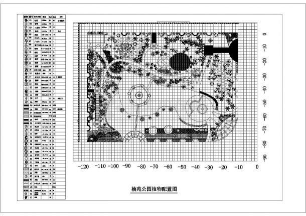 楠苑公园植物配置图图纸-图一