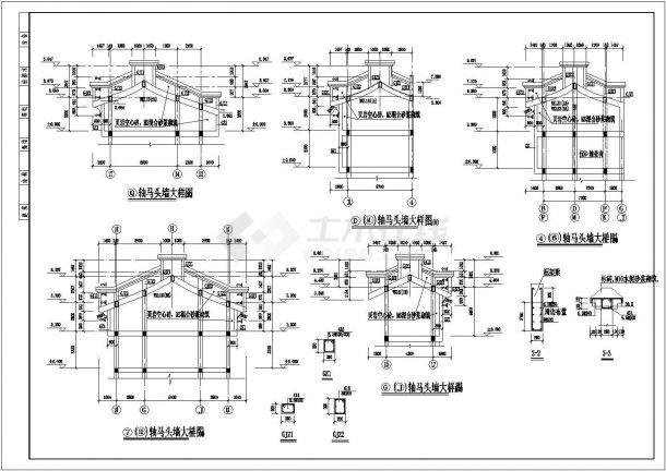 某中式仿古马头墙建筑详细设计施工方案CAD图纸-图一