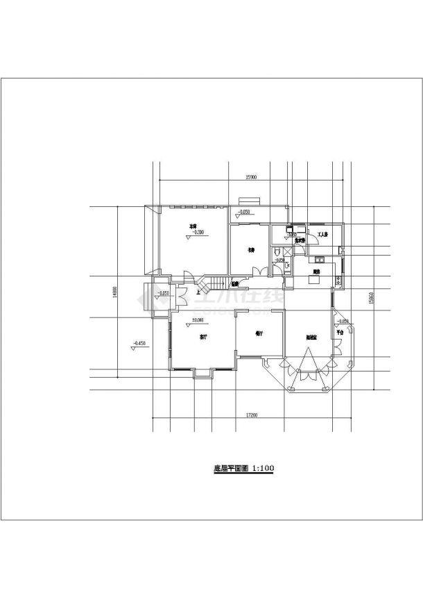 某小型中式独立别墅建筑详细设计施工方案CAD图纸-图一