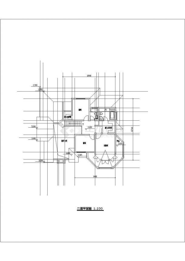 某小型中式独立别墅建筑详细设计施工方案CAD图纸-图二