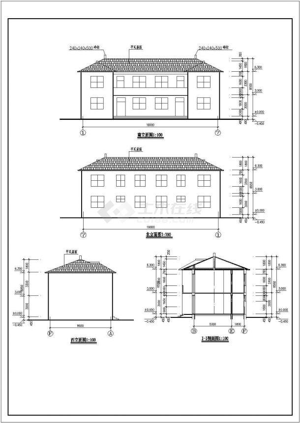 某中式古典办公别墅建筑详细设计施工方案CAD图纸-图一