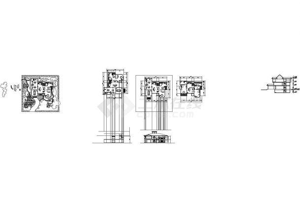 某中式小型郊区别墅建筑详细设计施工方案CAD图纸-图二