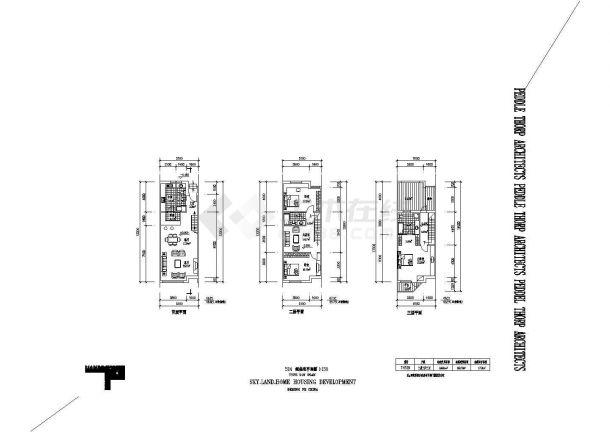 某中式小型联排别墅建筑详细设计施工方案CAD图纸-图一