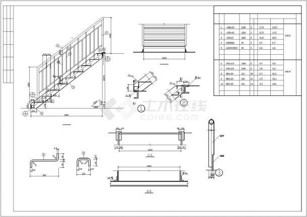 某地室外住宅钢结构楼梯设计图-图一