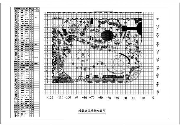 楠苑公园景观绿化规划设计cad总平面植物配置图(甲级院设计)-图一