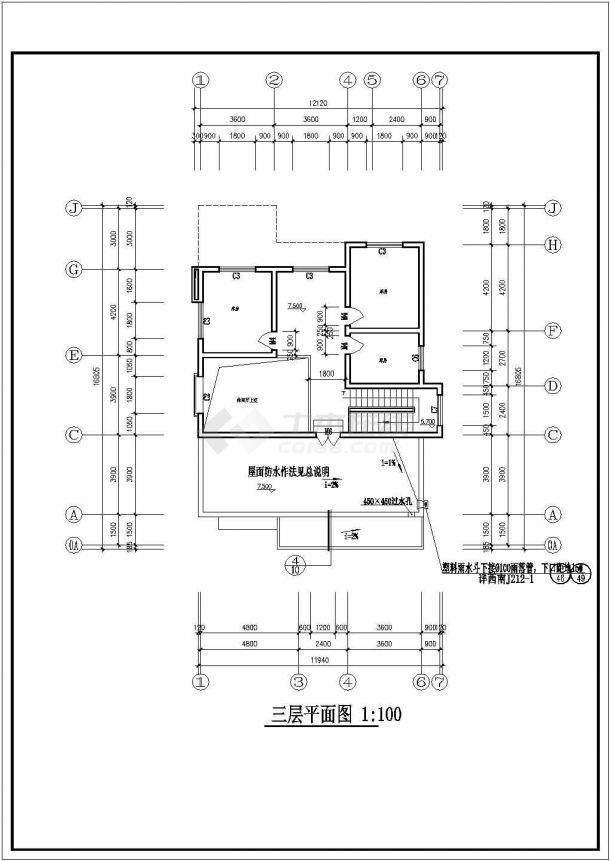 某地区村镇三层砖混结构住宅楼建筑设计cad图纸(含室内装饰表、建筑设计说明)-图一