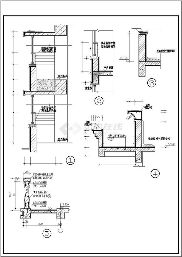 某地区村镇三层砖混结构住宅楼建筑设计cad图纸(含室内装饰表、建筑设计说明)-图二