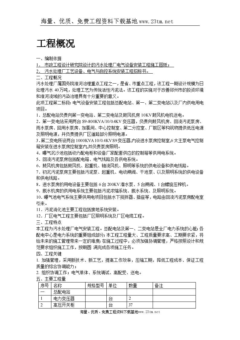郑州某污水处理厂电气设备安装工程施工组织设计/-图二