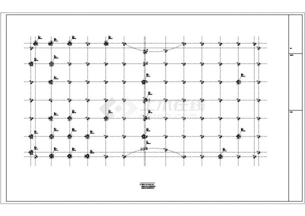 杭州某4层框架农贸市场全套结构施工cad图(含集水坑构造详图)-图一