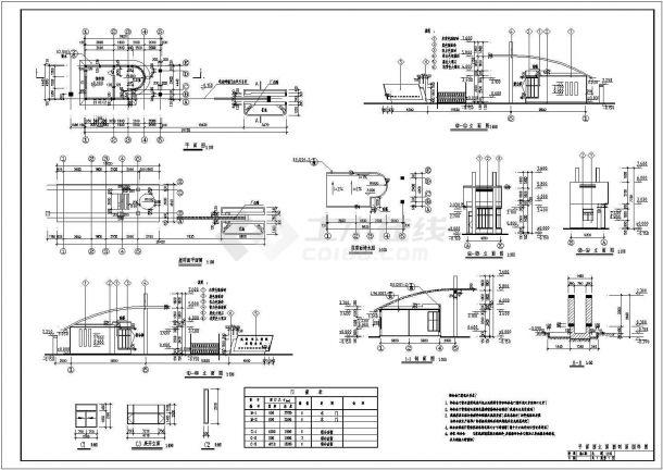 某纺织公司一层框架结构传达室设计cad全套建筑施工图(含设计说明)-图一