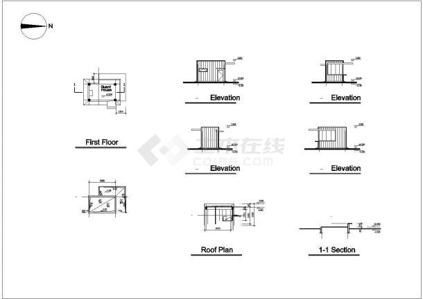 某生产型公司多层框架结构厂房设计cad全套建筑施工图(全英文标注)-图一