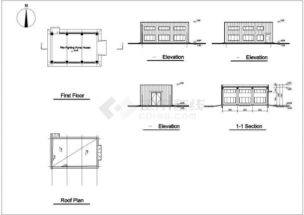某生产型公司多层框架结构厂房设计cad全套建筑施工图(全英文标注)-图二