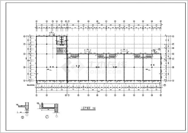 某主体二层局部三层框架结构沿街商业房设计cad全套建筑施工图(含设计说明)-图二