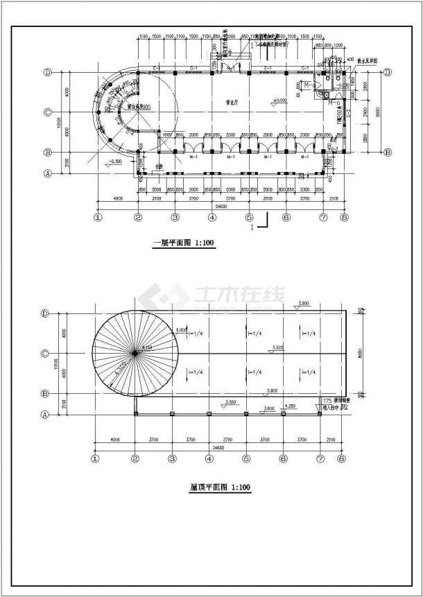某一层框架结构西班牙风格售楼处设计cad全套建筑施工图(含结构设计,含设计说明)-图一