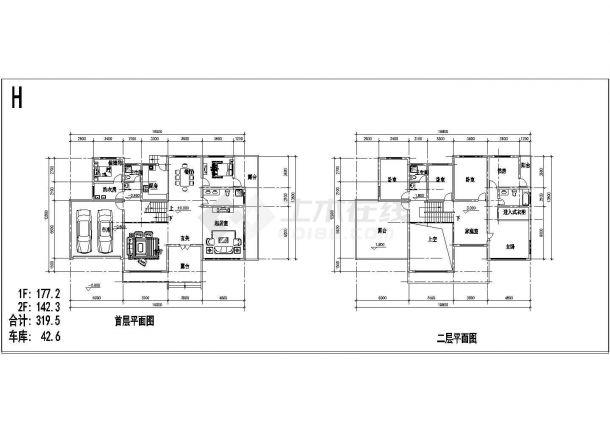 北方某二层单家独院式别墅建筑设计施工图-图一