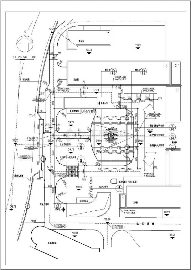 医院设计_儿童医院园林景观工程施工图设计总平面CAD图-图一