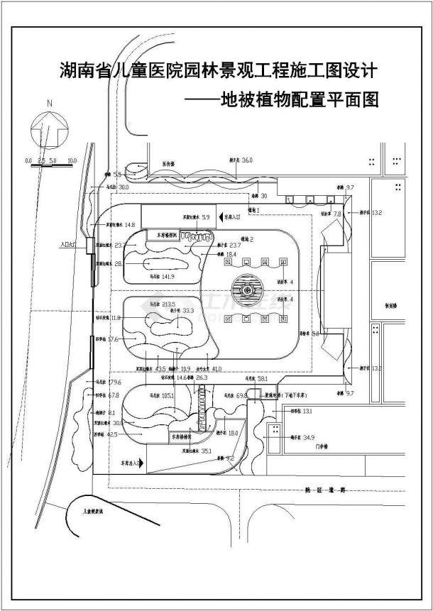 医院设计_儿童医院园林景观工程施工图设计总平面CAD图-图二