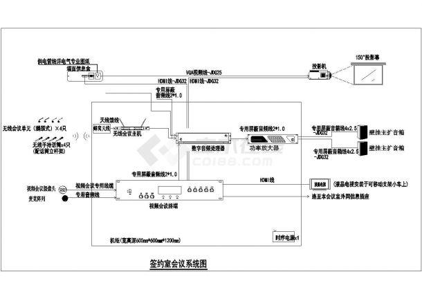 某地大型会议室弱电系统设计cad全套施工图-图一