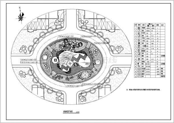 某圆形小广场景观园林绿化规划设计cad总平面植物配置施工图(标注详细)-图一