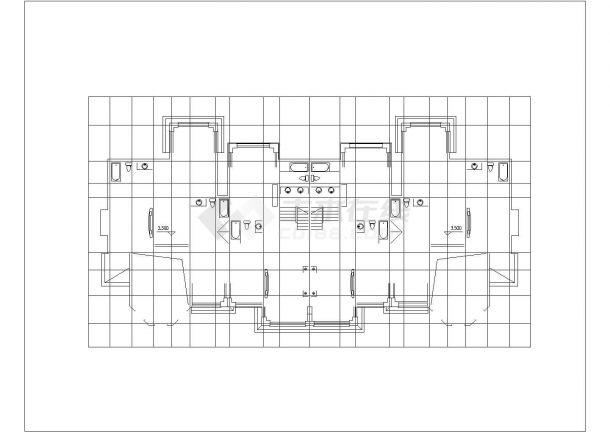 500平米2层双拼式砖混结构别墅住宅楼建筑设计CAD图纸(1楼2户)-图二