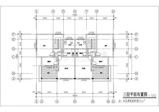 上海市崇明区某村镇500平三层砖混结构高档独栋别墅建筑设计CAD图纸-图一