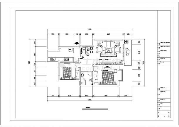 某两室两厅的私人住宅室内装修设计cad图纸(含效果图)-图二