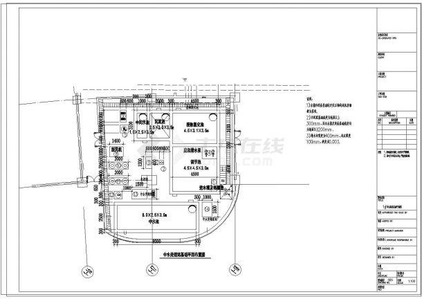 [上海]中水处理站建筑给排水工程cad图纸-图一