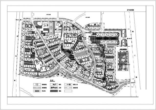 某多层住宅小区(规划总用地面积153763平方米)规划设计cad总平面施工图(含技术经济指标)-图一