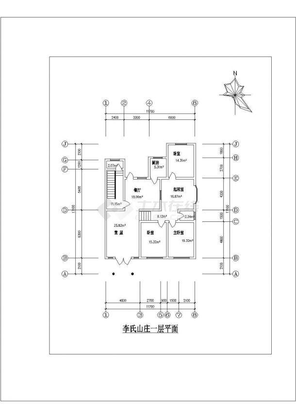 舟山市某避暑山庄单层砖混结构民居住宅楼平立面设计CAD图纸-图一