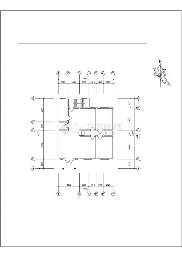 舟山市某避暑山庄单层砖混结构民居住宅楼平立面设计CAD图纸-图二