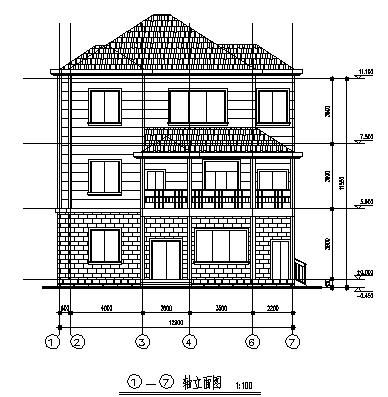 某三层砖混结构经典农村住宅楼建筑施工cad图_住宅楼施工-图一