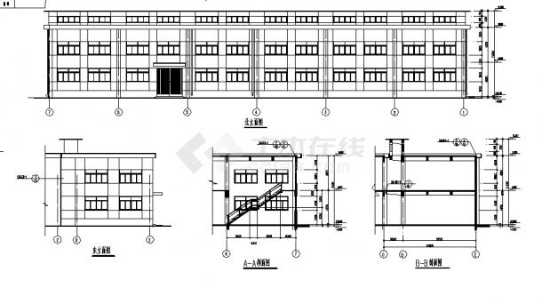 2层1300平米钢筋混凝土结构材料仓库建筑施工cad图纸-图一