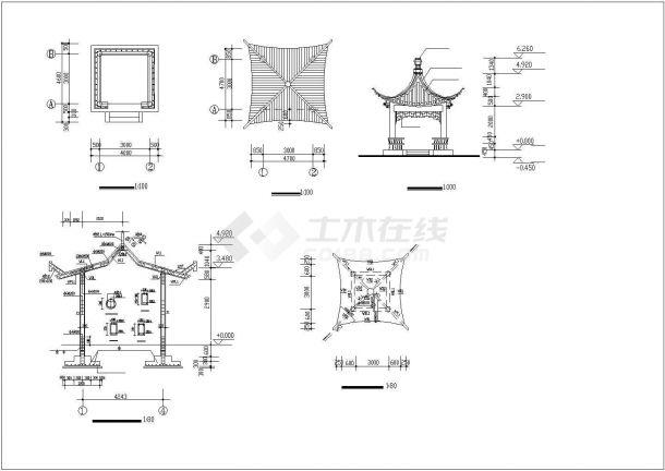 秦皇岛市某别墅区内部仿古凉亭建筑设计CAD图纸(4种方案)-图一