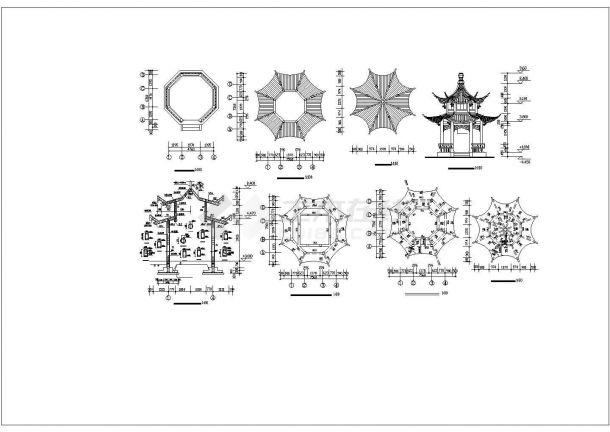 秦皇岛市某别墅区内部仿古凉亭建筑设计CAD图纸(4种方案)-图二