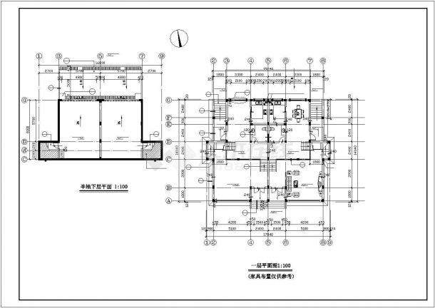 滁州市某村镇三层砖混结构单体别墅楼建筑设计CAD图纸(含半地下室)-图二