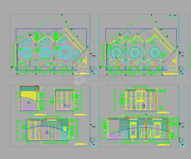 某五星酒店中餐厅包间室内装修设计cad全套施工图(甲级院设计)-图二