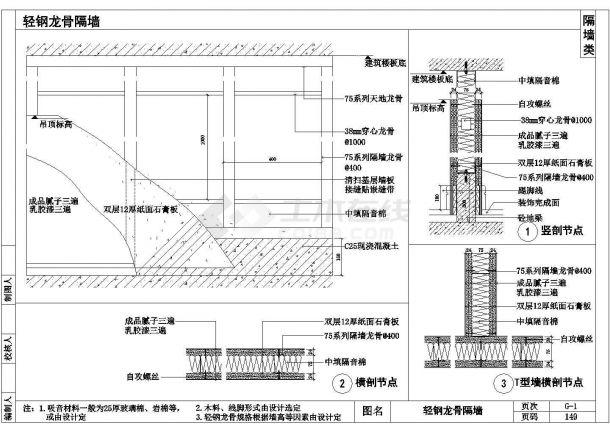 某小区室内装饰工程通用节点-隔墙节点详图-图一