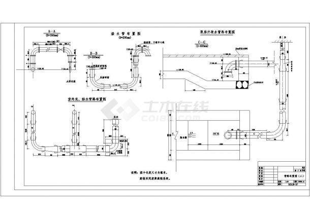 [山东]郊区某小型橡胶坝全套施工设计cad图纸(含泵站管路布置图)-图一
