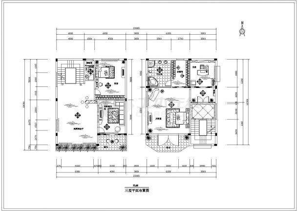 重庆市万和村某3层砖混结构私人别墅全套装修装饰设计CAD图纸-图二