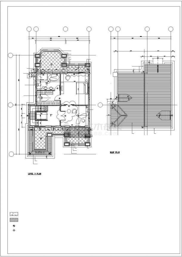 焦作市旭城新村某350平米三层砖混结构单体别墅全套建筑设计CAD图纸-图二